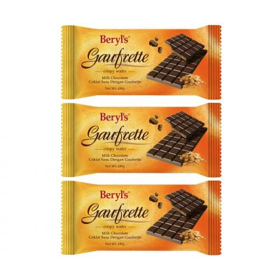 Beryl's Gaufrette Milk Chocolate Bar 100g - pack of 3