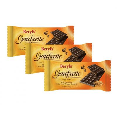 Beryl's Gaufrette Milk Chocolate Bar 100g - pack of 3