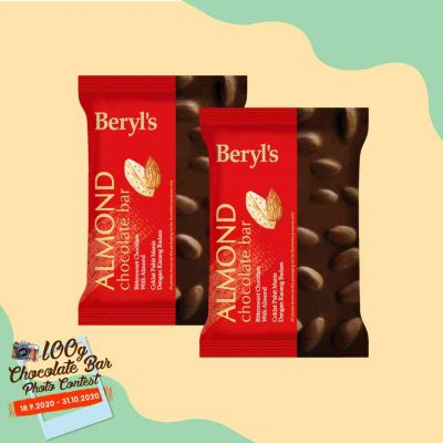 Beryl's Almond Chocolate Bar 100g - Pack of 2