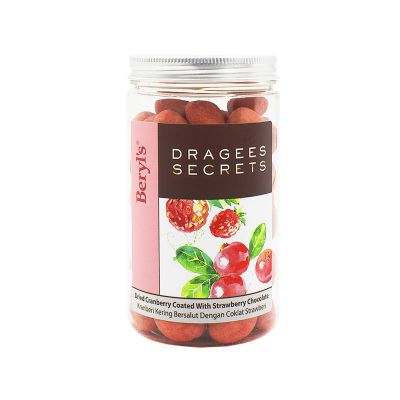 Dragees Secrets - Dried Cranberry Coated With Strawberry Chocolate 180g