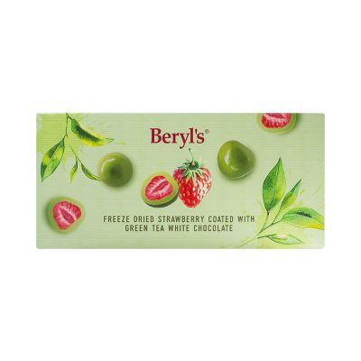 Beryl's Freeze Dried Strawberry Coated With Green Tea White Chocolate 80g
